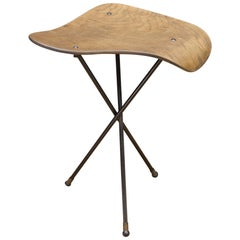 Vintage Plywood Perch Table Assemblage on Iron Rod Tripod
