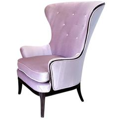 Dramatic High Wingback Chair in Lilac Mohair with Mahogany Detail, Italy