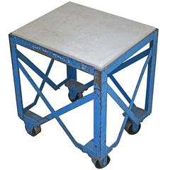 Industrial Steel Table on Wheels with Concrete Top