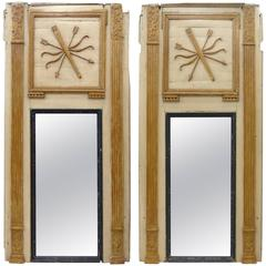 18th Century Boiserie Panels Mounted as Trumeau Mirrors, Pair