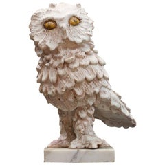 Vintage Ceramic Feathered Snow Owl Bird Pottery Sculpture on Marble Base