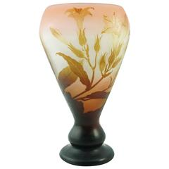 Emile Galle Large Window Pane Cameo Lily Vase
