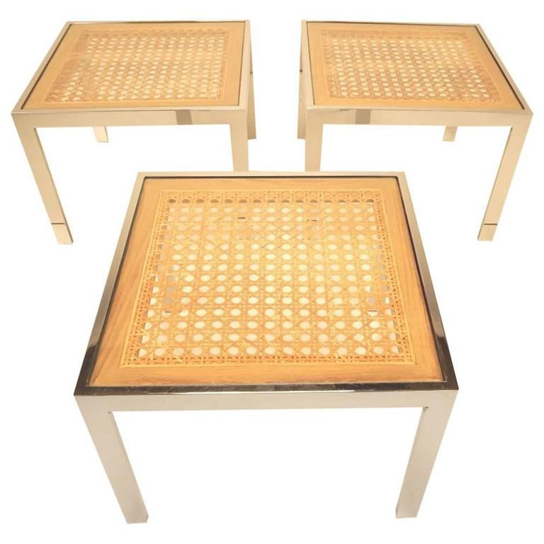 Three Mid-Century Chrome and Rattan Cane Tables by Milo Baughman For Sale
