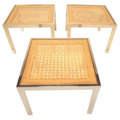 Three Mid-Century Chrome and Rattan Cane Tables by Milo Baughman