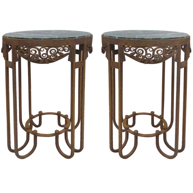 French Art Deco Wrought Iron Marble Top Tables by Paul Kiss, Pair For Sale