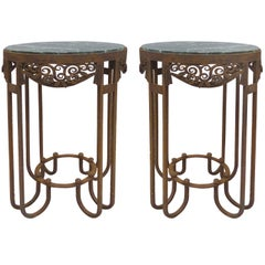 Paul Kiss French Art Deco Wrought Iron Marble Top Tables, Pair