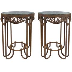French Art Deco Wrought Iron Marble Top Tables by Paul Kiss, Pair