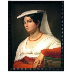 19th Century Portrait of an Italian Woman, Probably That of Vittoria Caldoni