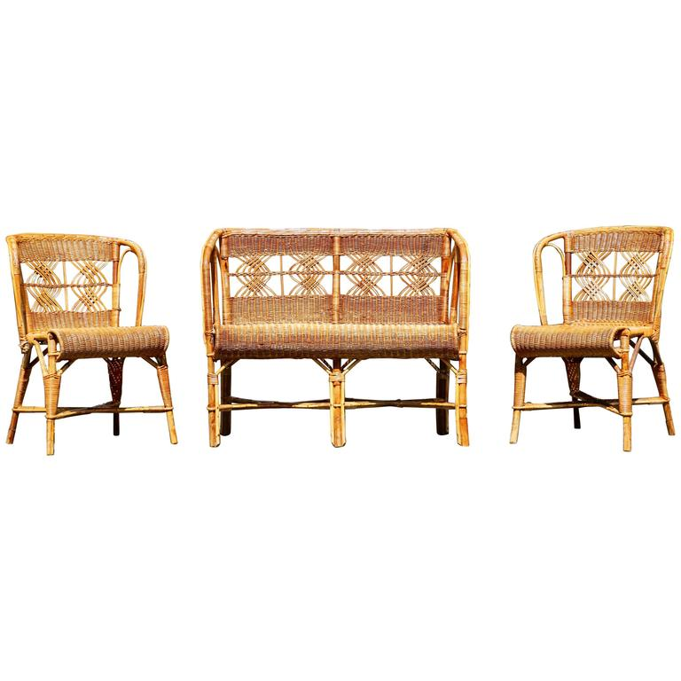 1960s A Small Two Seat Bench In Rattan For Sale At 1stdibs