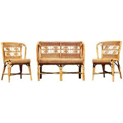 1960s A small two seat bench in Rattan