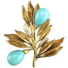 Mario Buccellati Yellow Gold, Turquoise and Pearl Flower Brooch