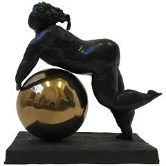 Bronze and Brass Woman Sculpture by Gene Adcock