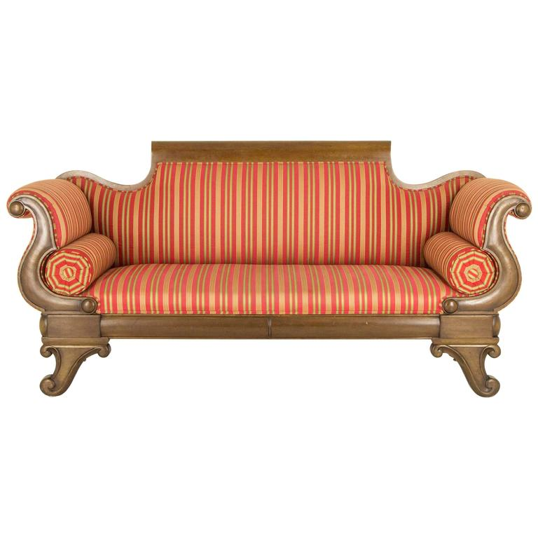 Antique Victorian Mahogany Scroll Arm Sofa or Settee