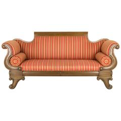 Antique Walnut Sofa, Scroll Arm Settee, England, B707   REDUCED!!!