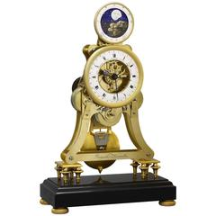 Empire-Period Astronomical Skeleton Clock with Quarter-Strike on Three Bells