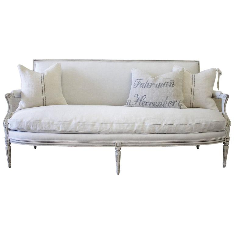 Antique Louis Xvi Style French Sofa In Natural Belgian Linen For