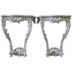 Painted and Carved Louis XV Style Wall Console