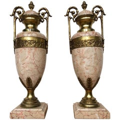 Pair of Antique French Gilt Bronze and Marble Cassolettes / Vases w. Putti Decor