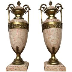 Pair of Antique French Gilt Bronze and Marble Cassolettes/Vases with Putti Decor