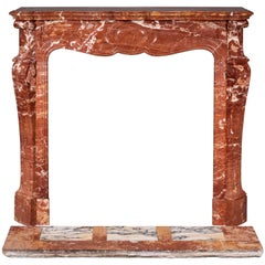 Louis XV Style Fireplace, Pompadour Model, in Saint Maximin Breccia Marble