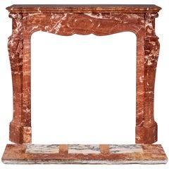 Louis XV Style Fireplace, Pompadour Model, in Saint Maximin Breccia Marble
