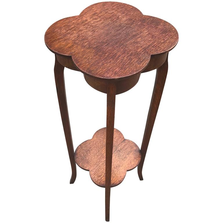 Arts and Crafts Solid Oak, Four Leaf Flower Shape Plant or Sculpture Stand Table