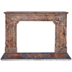 "Louis XIV Style ""Bollection"" Fireplace Mantel in Sarrancolin Ilhet Marble"