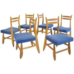 Set of Six Guillerme et Chambron Oak Dining Chairs, circa 1960, France