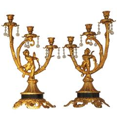 Pair of 19th Century French Empire Gilt Bronze Figural Candelabra Candle holders