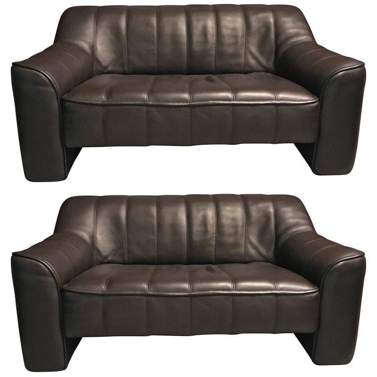 Pair of DS44 De Sede Leather Sofas For Sale