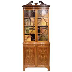 Fine Quality Marquetry Inlaid Edwardian Period Bookcase by Edwards & Roberts