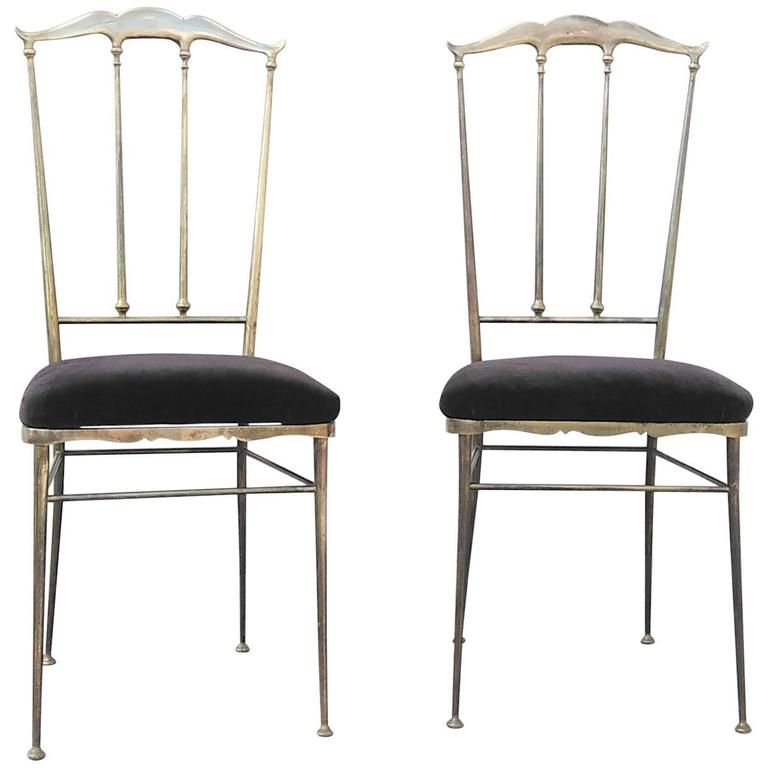 Pair of Solid Brass Chiavari Chairs, Italy, 1960s