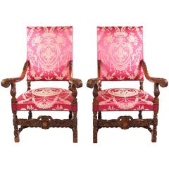 Pair of Chairs, Beech Massively, circa 1880-1890, Carved and Stilted