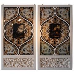 Pair of 19th Century Italian Painted Glass Panels
