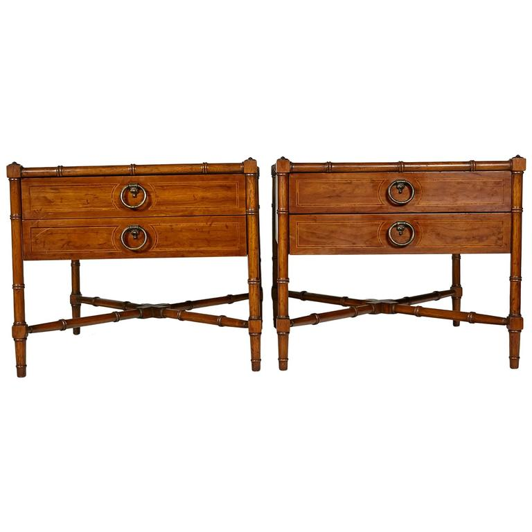 Drexel Heritage Grand Tour Faux Bamboo Side Tables, Pair 1