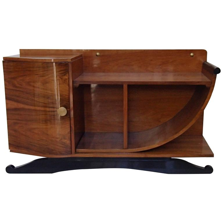 Art Deco Console or Sideboard Walnut U-Shaped Side Black Legs
