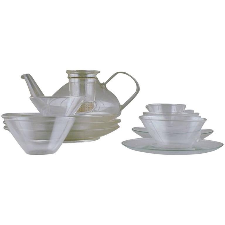 "Wilhelm Wagenfeld: ""Jena"" Tea Set of Clear Glass"