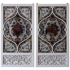 Pair of 19th Century Italian Painted Glass Panels