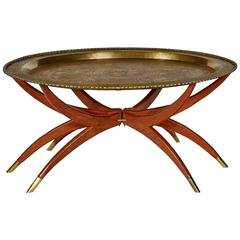 Moroccan-Style Brass Tray Table on Spider Folding Stand