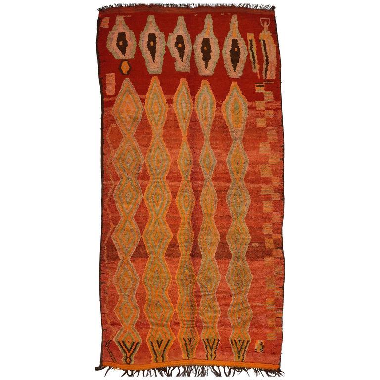 Vintage Unusual Rehamna Moroccan Carpet
