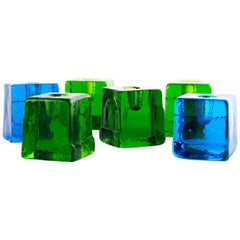 Swedish Glass Candleholders, Colorful Set of Six Art Glass Lindshammar Sjogren