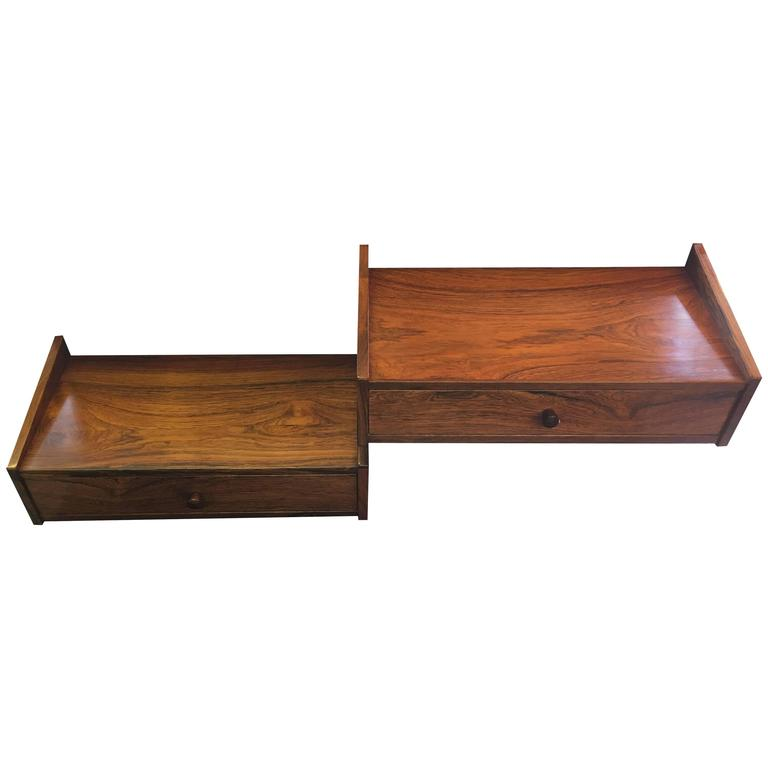 Pair Of Danish Rosewood Wall Mounted Single Drawer Bedside