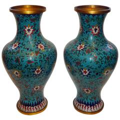 Pair of Large 19th Century Chinese Cloisonné on Blue Back Ground Vases
