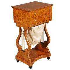 Lyra Sewing Table in Biedermeier Style
