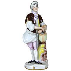 """Porcelain Figurine """"The Salami Salesman"""" by Augarten Vienna, Austria, circa 1950"""
