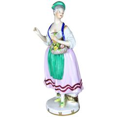 """Porcelain Figurine """"The Flower Woman"""" by Augarten Vienna, Austria, circa 1950"""