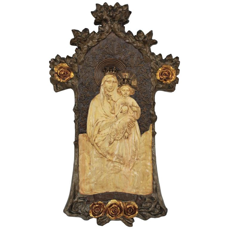 Art Nouveau Virgin and Child Bas Relief Stucco in the Style of Antoni Gaudí