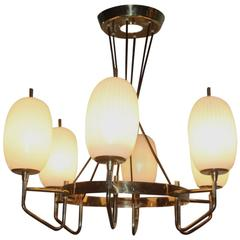 Particular Mid-Century Italian Chandelier Brass and Glass