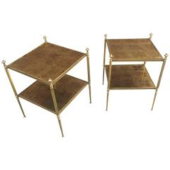 Maison Baguès Pair of Side Tables in Gilt Metal, Top in Cloudy Mirror