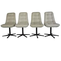 Set of Four Vintage Swivel and Velvet Chairs, 1970s